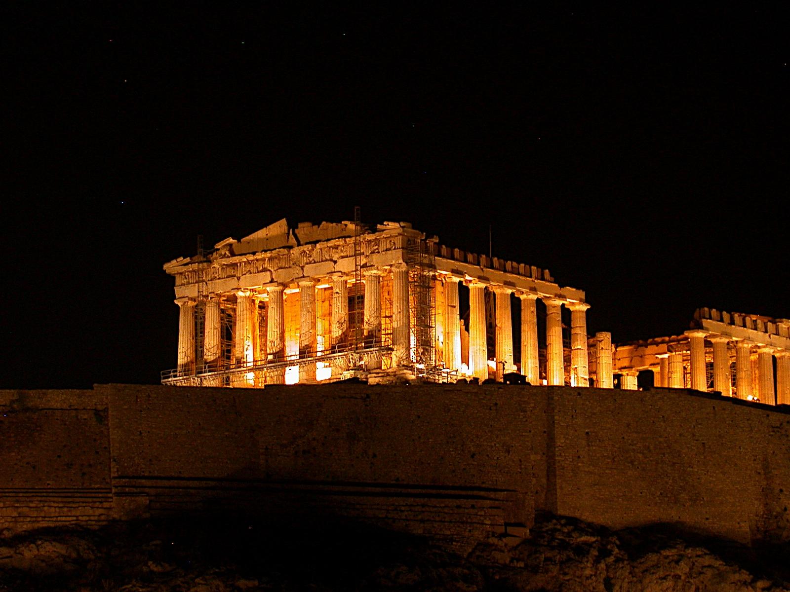 Grecee, Europe, The Parthenon illuminated at night