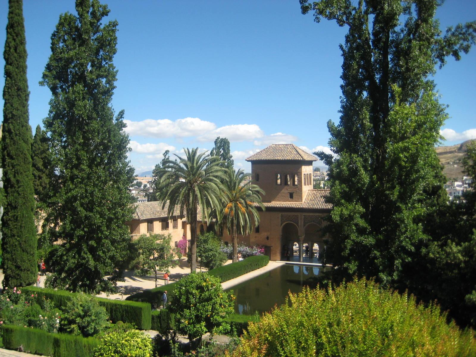 Granada spain alhambra inside garden view