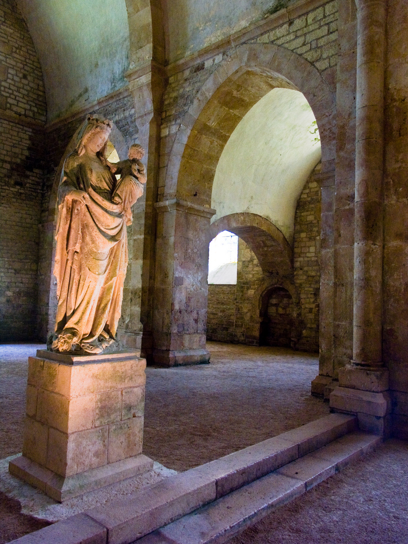 Bourgogne, France, Statue of Virgin Mary with Jesus inside of Fontenay Abbey