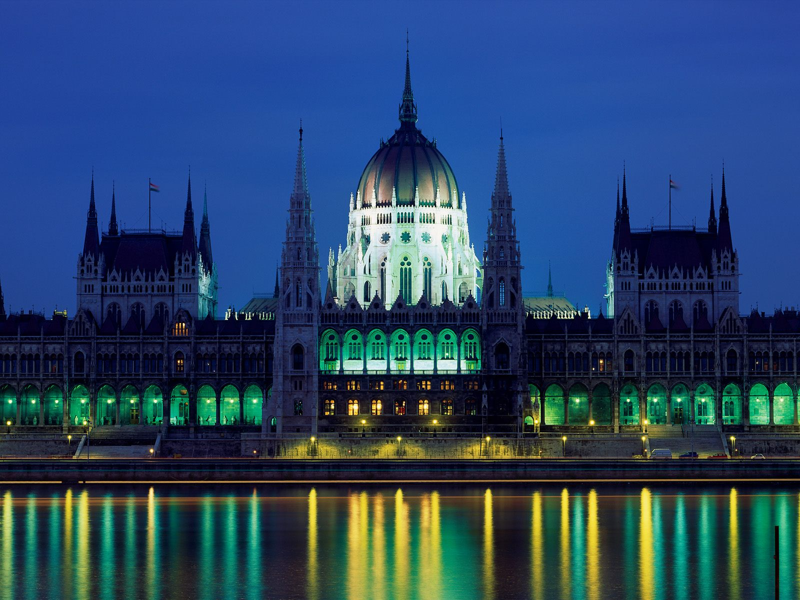 Budapest, Hungary, Parliament building at night