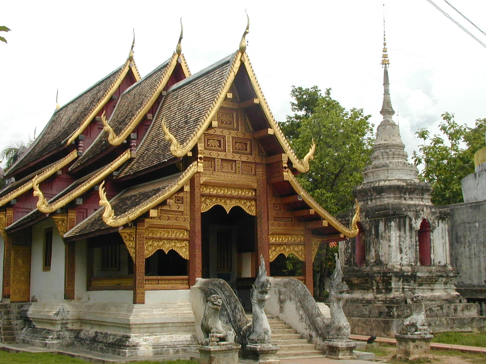 Thailand, Chiang Mai Wat Phra Singh Temple Wihaan view
