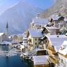 European Holiday Destination, Austria, Hallstatt, City overview on winter