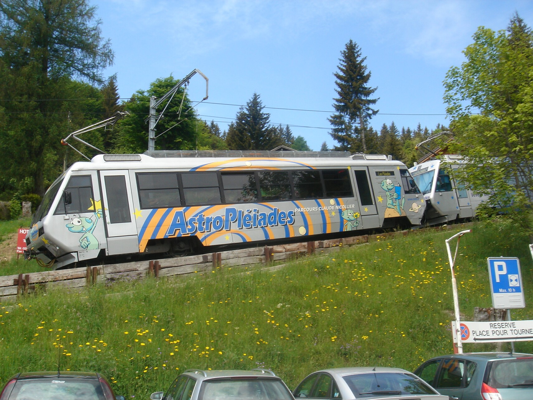 Vevey Switzerland Europe Les Pleiades train colored