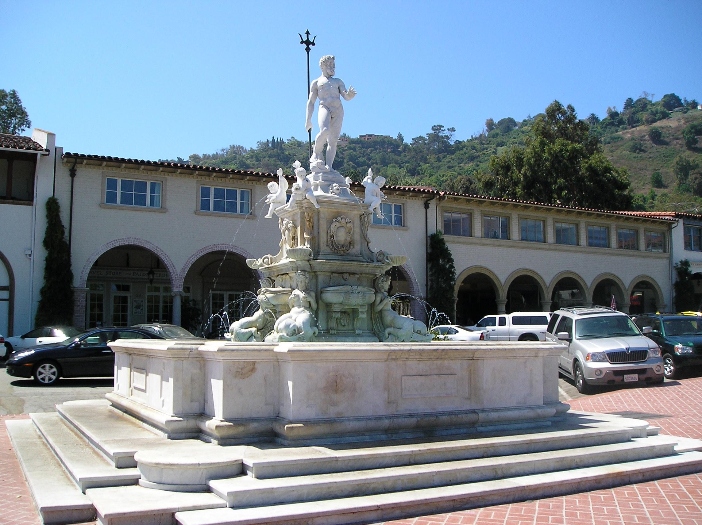 malaga  spain  king neptune fountain malaga cove plaza