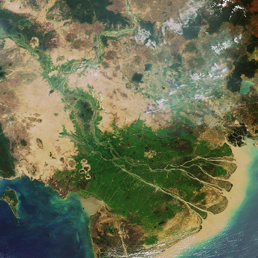 The Mekong Delta, Vietnam, Asia, Satellite View