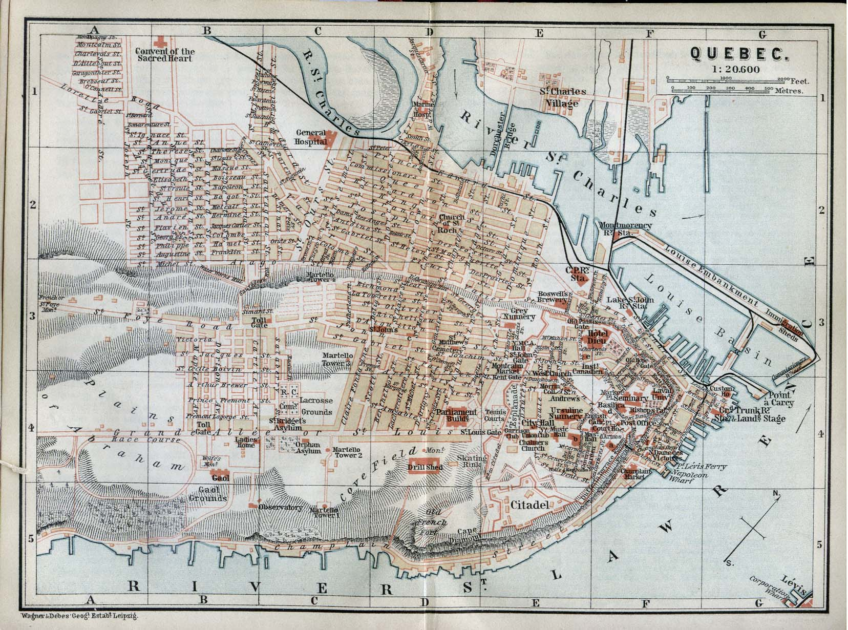 City Canada An Old Map Of The City - Quebec city canada map
