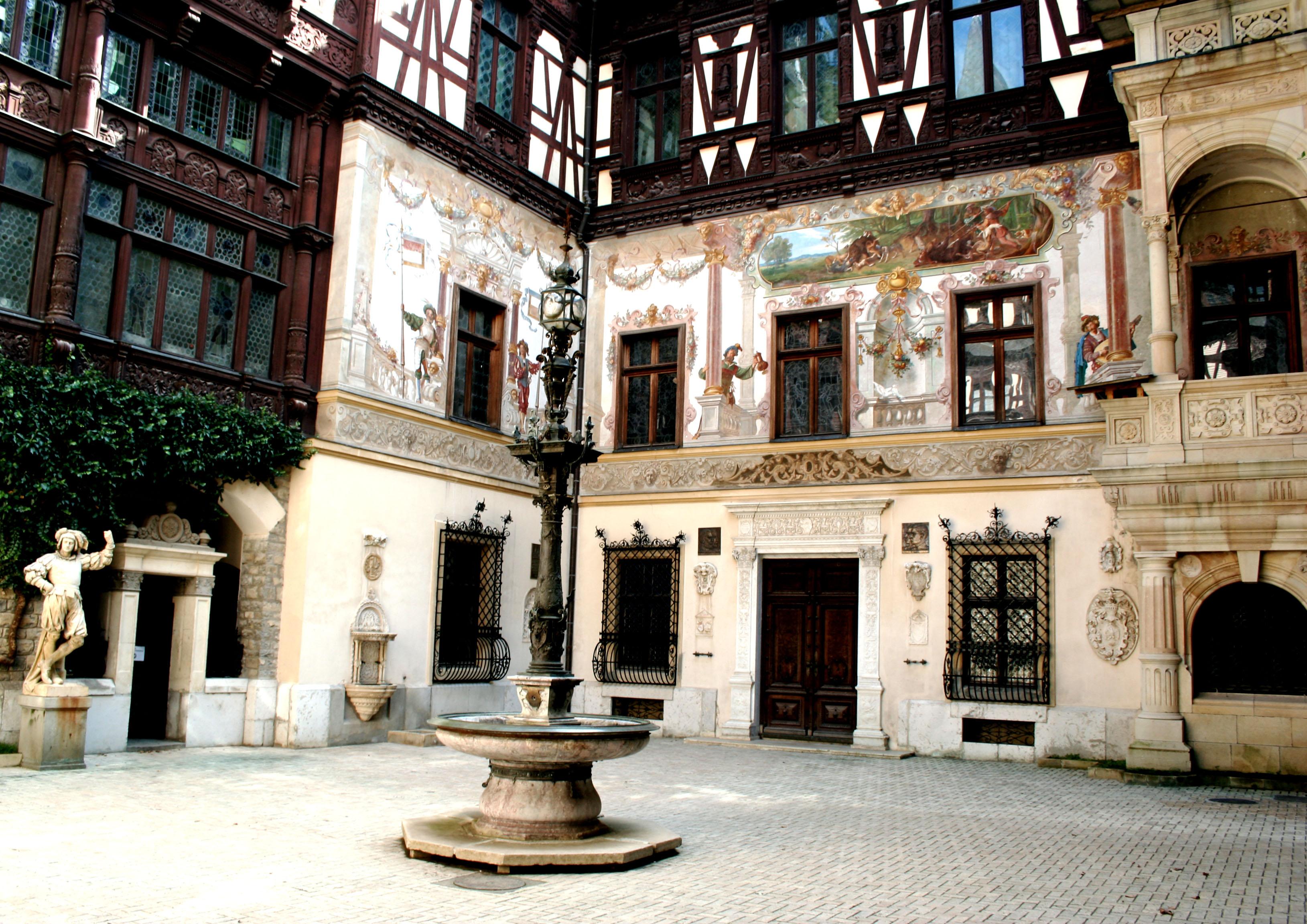 Sinaia, Romania, Peles Castle courtyard