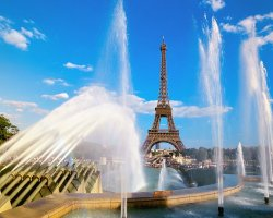 France, Europe, Eiffel Tower and Fountain