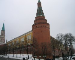 Moscow, Russia, Kremlin Tower on winter