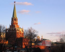 Moscow, Russia, Kremlin on sunset