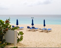 Meads Bay, Anguilla, America, lounge chairs on the beach