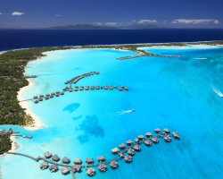 Attractive Floating Hotels, Bora Bora, French Polynesia, Lagoon Resort Spa aerial view