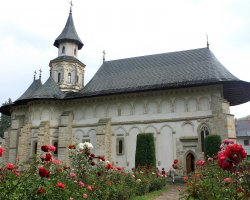 Beautiful Monastery, Putna, Romania, Outside view spring time