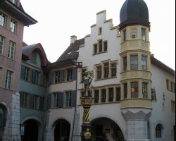 Biel, Switzerland,  Knights fountain in the the old town