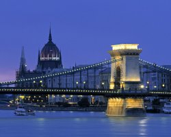 Budapest, Hungary, Bridge view at night