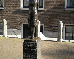City Break Holiday, Amsterdam, The Netherlands, Anne Frank House front statue