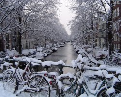 City Break Holiday, Amsterdam, The Netherlands, Canal overview by winter