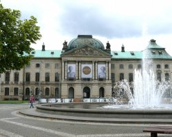 Dresden, Germany, Neustadt fountain and Japanese Palace