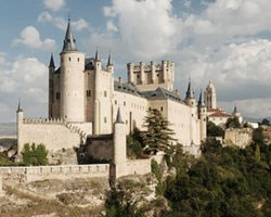 A fairytale castle, Alcazar of Segovia, Spain, Panoramic view by day