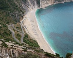 Beaches in Greece, Myrtos Beach, Kefalonia, Upview