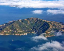 Hiking Summer Destination, Angel Island, California, Aerial view