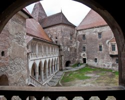 Unusual Holiday, Hunedoara, Romania, Hunyad Castle outside backyard