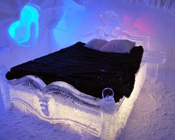 Ice Hotel Holiday, Quebec, Canada, Hotel de Glace, Bed room