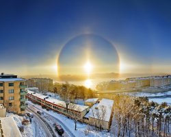 Stockholm, Sweden, Sunhalo beyond the city