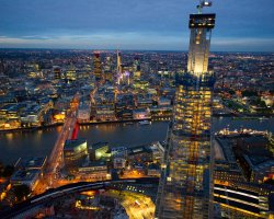 City Break Holiday, London, United Kingdom, The Shard aerial view
