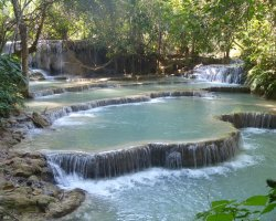 Dangerous Natural Pool Holiday, Tat Kuang Si Waterfall, Laos, Pools view