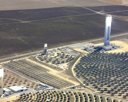 Seville, Spain, Three power tower plants at the Solucar Platform