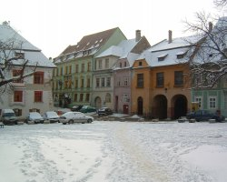 Sighisoara, Romania, The Central Square at winter