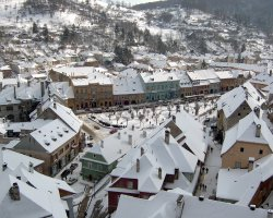 Sighisoara, Romania, Winter over the city