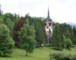 Sinaia, Romania, Peles Castle popping from the forest