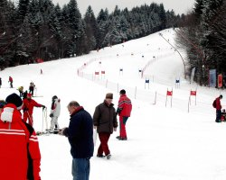 Ski Location, Predeal, Brasov, Romania, Clabucet slope with tourists