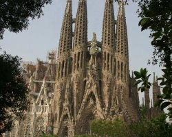 Barcelona, Spain, Sagrada Familia Cathedral overview