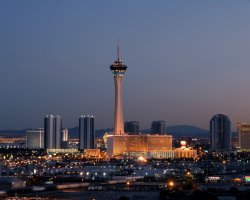 Top Rotating Restaurants, Stratosphere, Las Vegas, USA, Hotel view by night