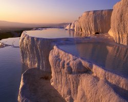 Turkey Holiday, Pamukkale, Turkey, Springs at sunset