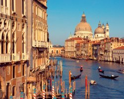 Venice, Italy, Grand Canal with gondoliers
