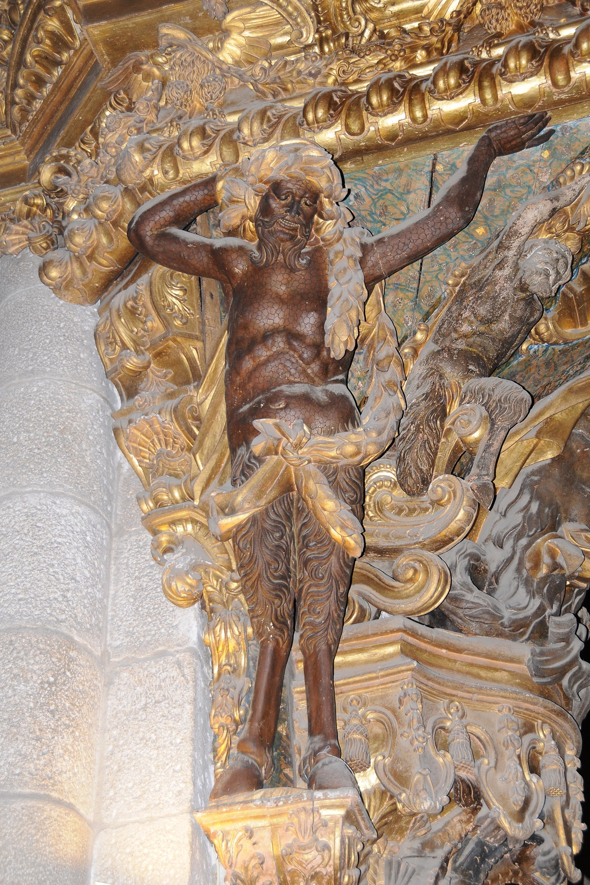 Braga Cathedral, Portugal, Satyr statue