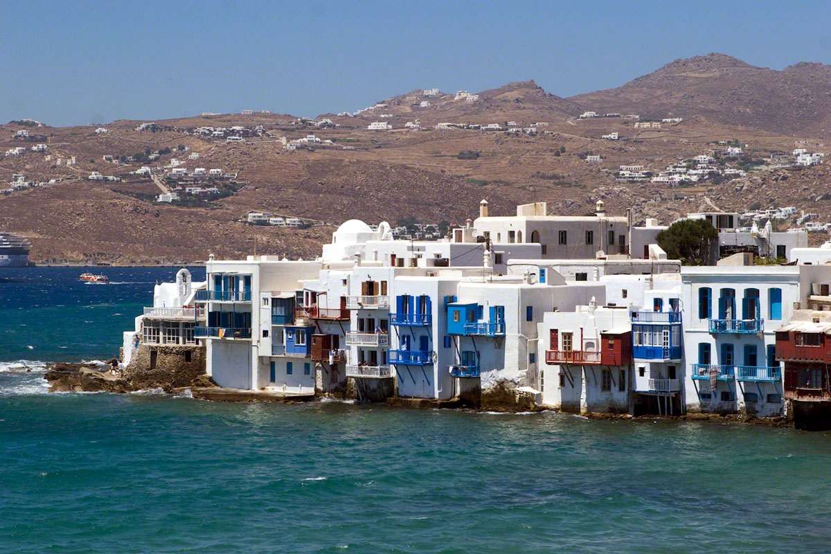Mykonos, Greece, Houses against the waves