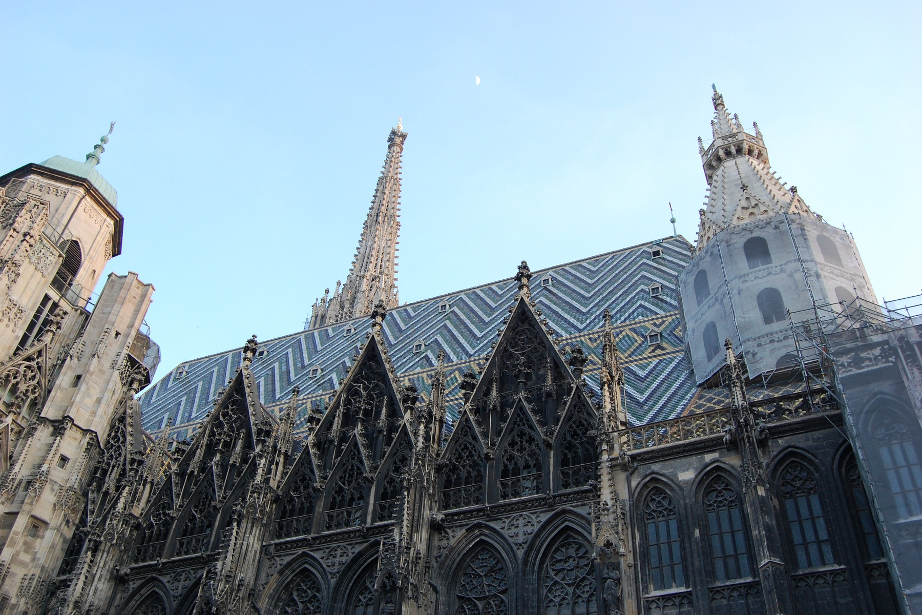 St Stephan Cathedral, Vienna, Austria, Side view of the roof