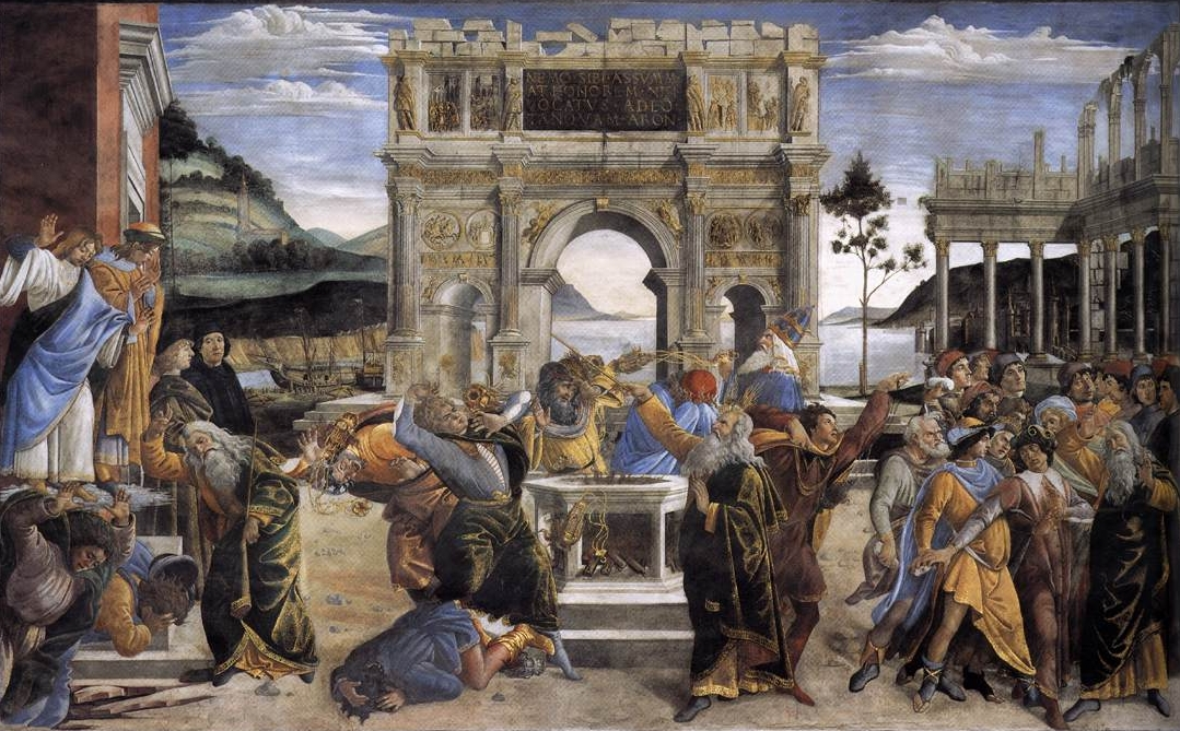 Sistine Chapel, Vatican, Botticelli fresco, The Punishment of Korah and the Stoning of Moses and Aaron