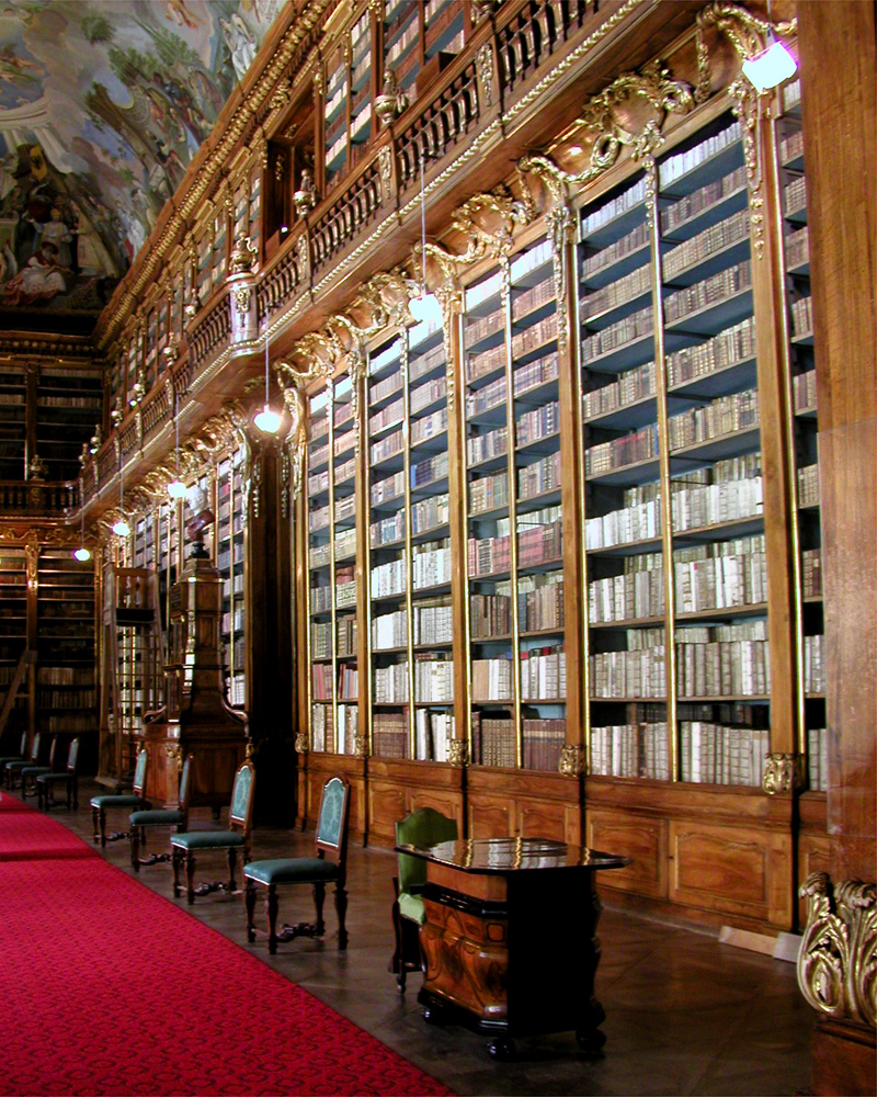Strahov Monastery, Prague, Czech Republic, Showcases with old books