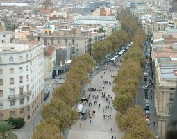 Barcelona Architecture, Spain, view of Las Ramblas
