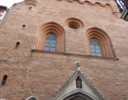 Basilique Saint Sernin, Toulouse, France, Upview facade