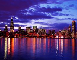 Chicago, USA, City skyline and sunset