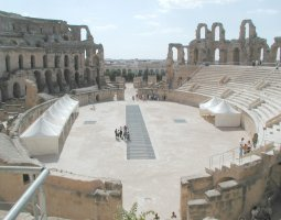 El Djem, Tunisia, Amphitheatre visited by tourists