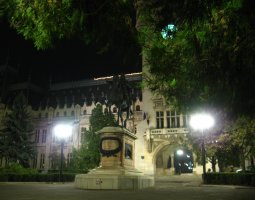 Iasi architecture, Romania, Palace of Culture and statue by night