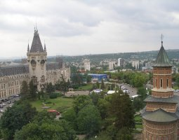 Iasi architecture, Romania, Palace of Culture from air